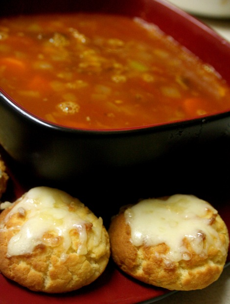 Beef Soup with Grain-Free Gluten-Free Coconut Flour Biscuits