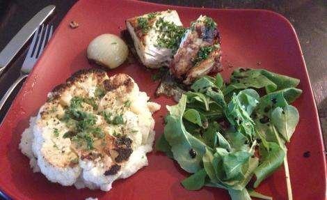 Cauliflower Steaks, Salmon, Arugula