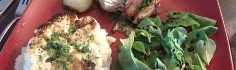 Cauliflower Steaks, Salmon, Arugula