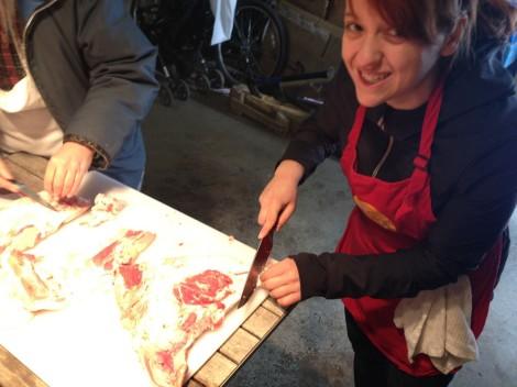 Emily Trimming Pork Jowl