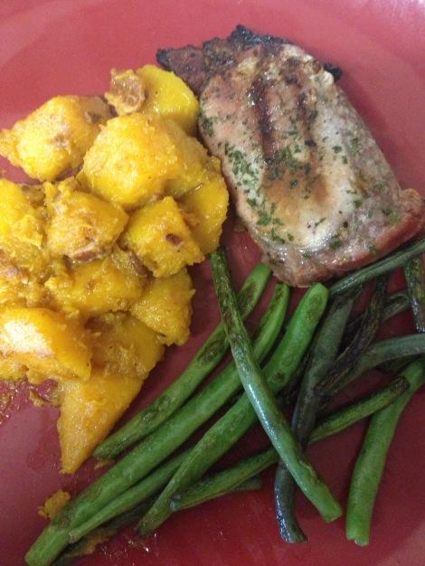 Whole30 Dinner: Pork chop, butternut squash, string beans